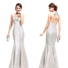 EBAY 59.99    Halter V Neck Fishtail Long Bridal Wedding Evening Prom Dress Formal Gown 09722 #EverPretty #EmpireWaist #Formal