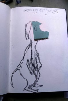 "August Creative Challenge: ""Randomly torn piece of paper stuck down in a random place in my sketchbook, then started drawing randomly to see where it would take me!"" From Morag Thomson Merriman's daily visual diary 2016"