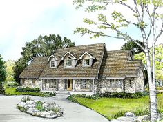 008H-0036: Two-Story Country House Plan; 4 Bedrooms, 3 Baths