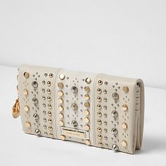 Cream studded foldover purse - purses - bags / purses - women