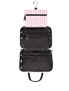 """$32.00   4""""L x 11""""W x 7 1/2""""H 2 clear zip compartments Removable cosmetic case"""