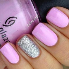 18 Spring Nails – Pretty in pink with a silver glitter accent nail. 18 Spring Nails – Pretty in pink with a silver glitter accent nail. Gorgeous Nails, Love Nails, Fun Nails, Glitter Accent Nails, Silver Glitter, Purple Glitter, Purple And Silver Nails, Pink Sparkles, Glitter Bomb