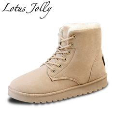 2017 Women Boots Women Winter Ankle Snow Boots Warm Fur Shoes Ladies Winter Plush Shoes Lace Up Fur Flat Shoes Botas Mujer #Affiliate