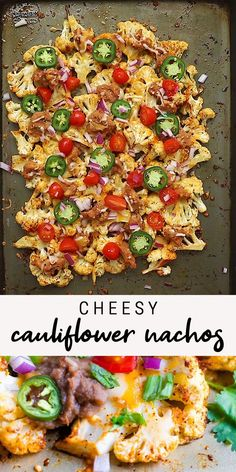Healthy Vegetarian Recipes 68695 These low-carb cauliflower nachos are cheesy, delicious and loaded with extra veggies like tomatoes, jalapeño peppers, onions and avocado. Healthy Low Carb Recipes, Healthy Dinner Recipes, Healthy Snacks, Cooking Recipes, Lunch Recipes, What Is Healthy Food, Healthy Low Calorie Meals, Healthy Carbs, No Carb Recipes