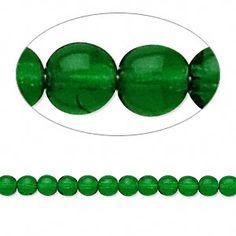 Bead, Preciosa® Czech pressed glass druk, emerald green, 4mm round. Sold per 16-inch strand. - Fire Mountain Gems and Beads