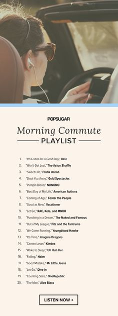 Sometimes the worst part about work is actually getting there, especially on Mondays. Start your day off right with these 20 songs, and we promise you won't even think about hitting snooze. lyrics country Music to Escape Your Morning Commute Music Lyrics, Music Songs, My Music, Work Music, Sweet Life Frank Ocean, Musica Country, Music Mood, Song Playlist, Song List