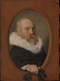 Petrus Scriverius by Frans Hals (1626) Metropolitan Museum of Art. Scriverius was a distinguished historian, poet, and scholar of classical literature. In this portrait Hals employs the scale, oval format, and illusionistic framing device that for several decades had been common in Dutch portrait prints.