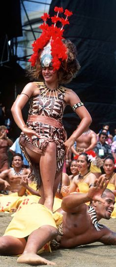 Performing samoan traditional siva or dance