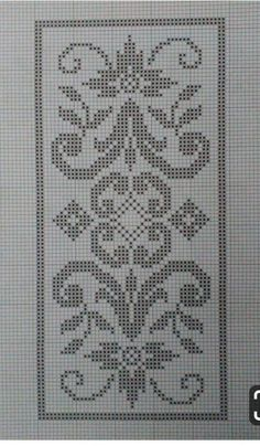Crochet Table Runner Pattern, Crochet Rug Patterns, Crochet Borders, Cross Stitch Patterns Free Disney, Bargello Needlepoint, Christmas Embroidery Patterns, Filet Crochet Charts, Fillet Crochet, Hardanger Embroidery