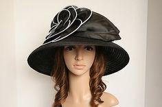 NEW Church Kentucky Derby Wedding Vintage Satin w Flower Wide Brim Hat Black