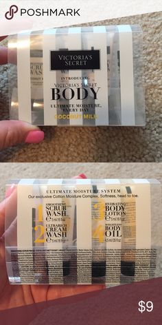 VS BODY ultimate moisture system sample Victoria's Secret BODY ultimate moisture system in coconut milk travel sample. 1 smoothing scrub wash 2 ultrarich cream wash 3 hydrating body lotion 4 weightless body oil. Never used.  .16 fl oz. Victoria's Secret Other