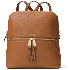 Michael Michael Kors Luggage Rhea Medium Slim Leather Backpack ($258) ❤ liked on Polyvore featuring bags, backpacks, luggage, leather laptop bag, laptop rucksack, laptop bags, leather rucksack and brown leather backpack