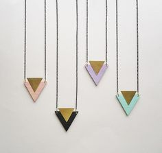 Lovely Wooden Triangle Necklaces