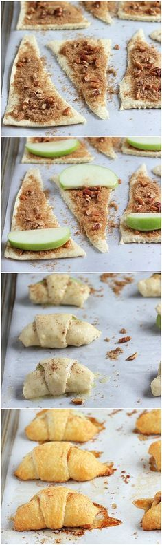 Apple Recipes: Apple Pie Bites -- The perfect Fall/Autumn dessert recipe. Looks easy & yummy too. Fall Dessert Recipes, Fall Desserts, Fall Recipes, Sweet Recipes, Delicious Desserts, Yummy Food, Baking Desserts, Thanksgiving Desserts, Party Recipes