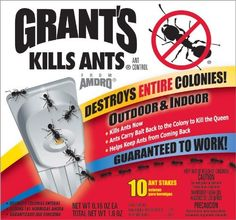 Grants 100500090 10-Count Ant Bait & Trap Stakes by Grant's. $6.99. Destroys entire colonies. Ant bait and trap stakes. For indoor and outdoor use. With sturdy plastic stake so that trap can be placed in the ground. Kills ants now. Use Outdoors around the house and for effective control replace every 6 weeks. Grant's Kills Ants was one of the first ant bait products used to control invading ants. Using a unique bait stake, the bait is contained in the stake and the product ...