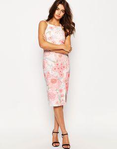 Image 1 of ASOS Occasion High Neck Pencil Dress in Pretty Floral Print