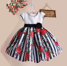 Cheap dress for your figure, Buy Quality dresse directly from China dress read Suppliers:     New Summer Baby Girls Floral Dress with cap European Style Designer Bow Children Dresses Kids Clothes 3-8YUSD