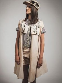 WINDOW GLITTER COAT - BEIGE | PETRA PTACKOVA | NOT JUST A LABEL | HAND-DYED | EMBROIDERY