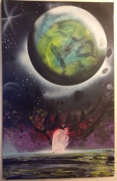 Spray paint space art // planet painting  by Mollyspocket on Etsy, $20.00