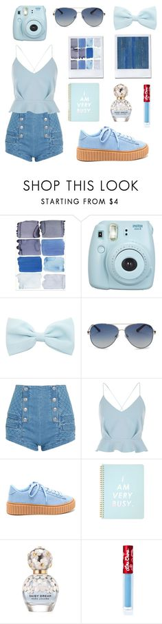 """""""Contest: """"Everything is Blue"""""""" by ember-lily-287 ❤ liked on Polyvore featuring Fujifilm, Valentino, Pierre Balmain, River Island, ban.do, Marc Jacobs, Lime Crime and NLXL"""