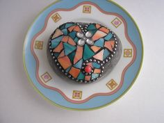 Mosaic Stained Glass Heart Rock Peach and Aqua by PalsCreations