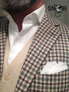 WIW check jacket Boglioli, MTM white shirt by Oger, knit vest Boggi & an exceptional 100 year old Fil de Bouche handwoven pocketsquare by Simonnot Godard available from the Hanger Project webstore