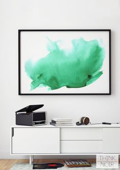 Green Watercolor Wall Art / Modern Wall Poster / by ThinkNoir