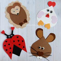 En hier is de nieuwe serie van dieren van hartjes knutselen (deel 2). Nu heb ik gekozen voor een kip, konijn, egel en een lieveheersbeestje.
