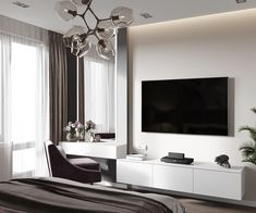 Tv stand with vanity thousand izobrajenii found in yandex. Hotel Bedroom Design, Simple Bedroom Design, Bedroom Closet Design, Modern Master Bedroom, Home Room Design, Minimalist Bedroom, Tv Unit Bedroom, Bedroom Tv Wall, Bedroom Setup