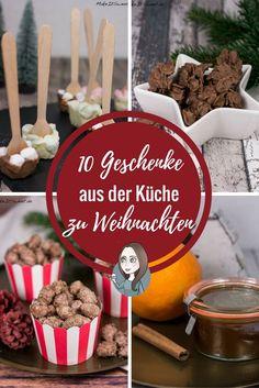 Zehn Ideen für Geschenke aus der Küche die perfekt zu Weihnachten passen. Man brauch für alle Rezepte wenige Zutaten und die Zubereitung geht schnell.