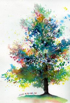 Tree made using a simple watercolor technique - kids and adults can experiment with this fun technique