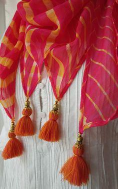Hand dyed shibori in Georgette Long scarf Handmade Tassels Bridal Hair Tutorial, Saree Blouse Patterns, Stylish Dresses For Girls, Formal Looks, Cake Birthday, Long Scarf, Shibori, Salwar Kameez, Blouse Designs