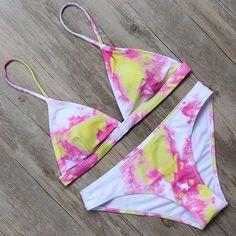 Printed Bandage Bikini Set Push Up Bra Swimsuit Bathing Suit