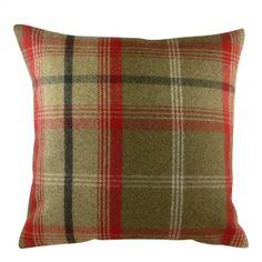 Red/Khaki Wrap Balmoral Square Cushion
