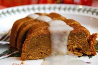 pumpkin pudding cake with a warm drizzle of creamy nutmeg sauce