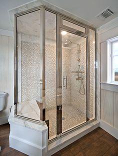 Bathrooms & Showers - Pebble Tile Shop Shower Seat, Shower Floor, Shower Box, Tiny House Bathroom, White Bathroom, Master Bathroom, Pebble Tile Shower, Wood Tile Floors, Flooring