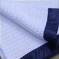 Crocheted Baby Blanket  White with Navy Blue by CraftsByRuth, $40.00
