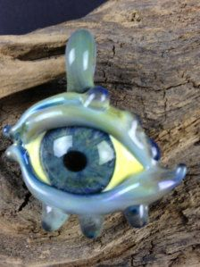hand blown glass evil eye bracelets | All Seeing Eye / Evil Eye Hand Blown Boro Glass pendant