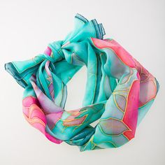 Silk scarf Roses Pink Turquoise scarf Hand by SilkIntuition