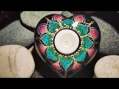 Heart Votive - YouTube Painted Rocks, My Etsy Shop, Butterfly, Heart, Youtube, Crafts, Rock Painting, Mandala, Stones