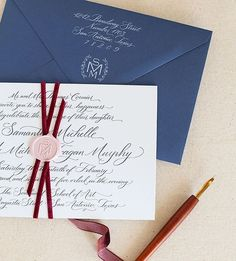 Gorgeous letterpress invitation, bound together with velvet ribbon and monogram wax seal by Southern Fried Paper