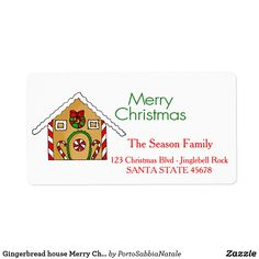 Gingerbread house Merry Christmas  address label
