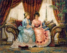 Needlework Crafts Full Embroidery Counted Cross Stitch Kits The Letter Victorian Paintings, Victorian Art, Victorian Ladies, Art Vintage, Decoupage Vintage, Vintage Pictures, Art Pictures, Images D'art, Cross Stitch Kits