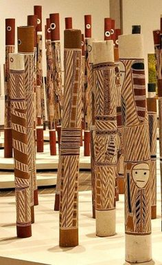 Aboriginal hollow log Coffin Poles at the National Gallery in Canberra, Australia.