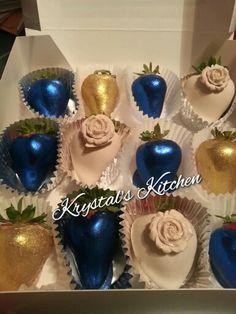 Blue cream n Gold chocolate covered strawberries