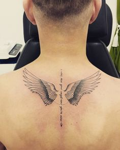 Angle Wing Tattoos, Wing Tattoo Men, Wing Tattoos On Back, Small Chest Tattoos, Back Tattoos For Guys, Cool Small Tattoos, Angel Wings Back Tattoo, Back Neck Tattoo Men, Small Wing Tattoos