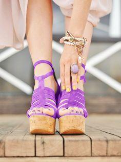bright , purple , model , heels