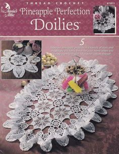 Pineapple Perfection Doilies, Annie's Attic Table Home Decor Crochet Pattern Booklet 872011