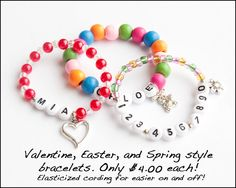 Choose Your Bracelet Style Valentine Heart Easter Bunny Spring Flower Charm Personalized Elasticized Bracelet Child Girl Medical Alert ICE