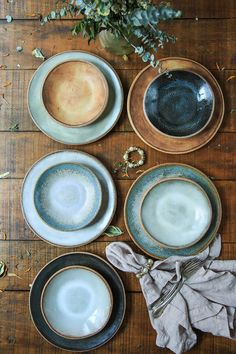 Sierra Line 9 Salad Plate — MMclay - Handmade Pottery & Ceramics by MaryMar Keenan 9 Salad Plates (bottom) with Dessert Bowls (top) Ceramic Tableware, Ceramic Bowls, Ceramic Pottery, Ceramic Art, Stoneware Dinnerware, Slab Pottery, Pottery Wheel, Pottery Bowls, Pottery Ideas